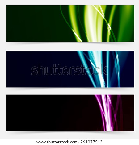 Colorful header collection speed futuristic line pattern. Vector illustration - stock vector