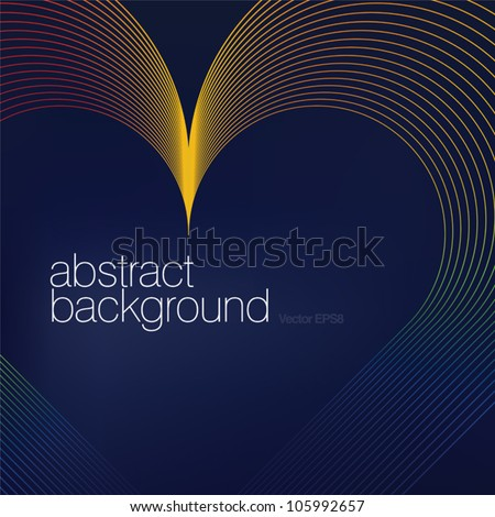 Colorful heart shaped lines abstract background.Vector, EPS8 - stock vector