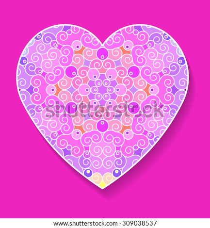 Colorful heart with pattern and shadow on a pink background. Postcard greetings for the holiday, Valentine's Day. Vector illustration. - stock vector