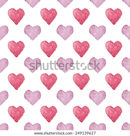 Colorful hearts seamless pattern. Vectorized watercolor painting. - stock vector