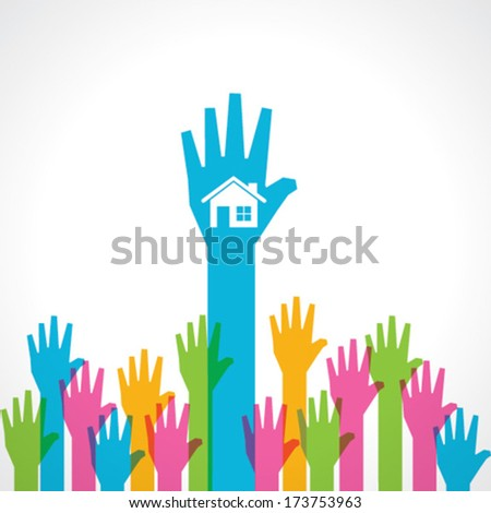 Colorful helping hand background with home icon stock vector - stock vector