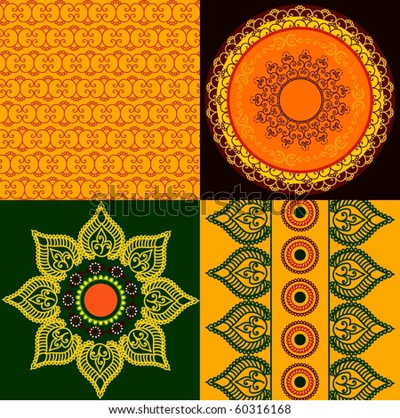 Colorful Henna mandala design (square tiles) and Matching borders - stock vector