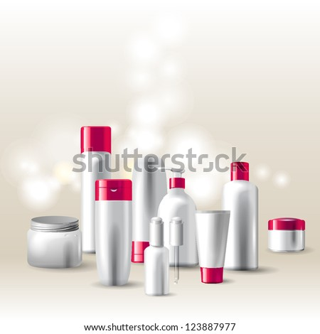 Colorful highly detailed cosmetics package - stock vector