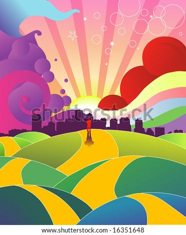 Colorful Hills - stock vector