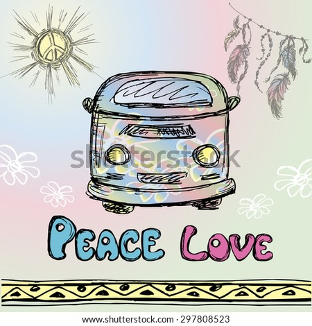 Colorful hippie car, hand drawing,vector illustration - stock vector