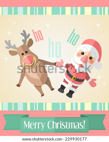 Colorful holiday Christmas card with Santa Claus and reindeer and green ribbon - stock vector