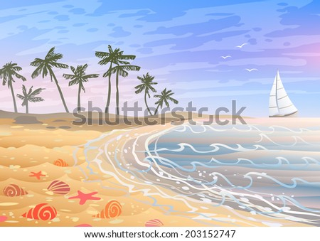 Colorful holiday on a beach with bright seashells, sand and palm trees  - stock vector