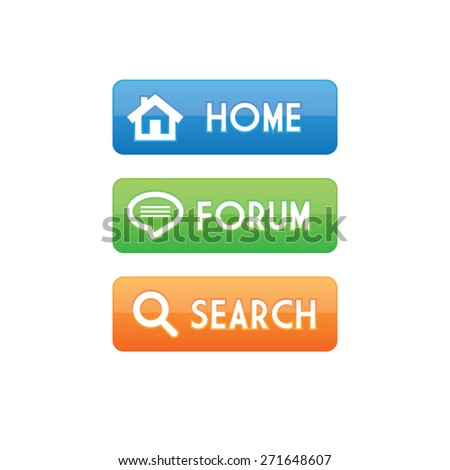 Colorful Home Forum and Search Buttons - stock vector
