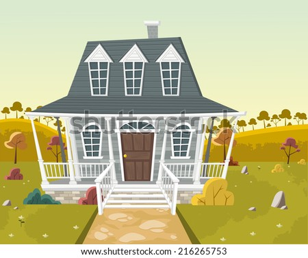 Colorful house in suburb neighborhood. Country house.   - stock vector