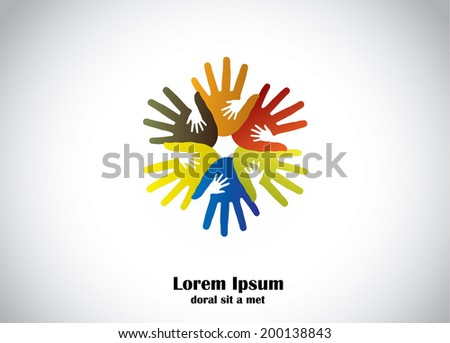 colorful human hands support young children hands abstract art. four colored hands supporting small young kids hands for supportive cause - community development concept  - stock vector