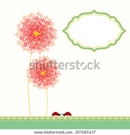 Colorful Hydrangea Flower Garden Party Invitation - stock vector
