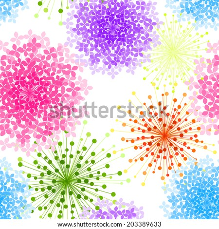 Colorful Hydrangea Flower Seamless Background Wallpaper - stock vector