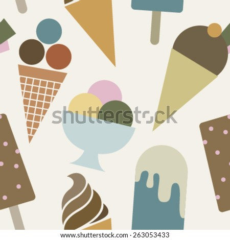 colorful ice creams on beige seamless pattern - stock vector