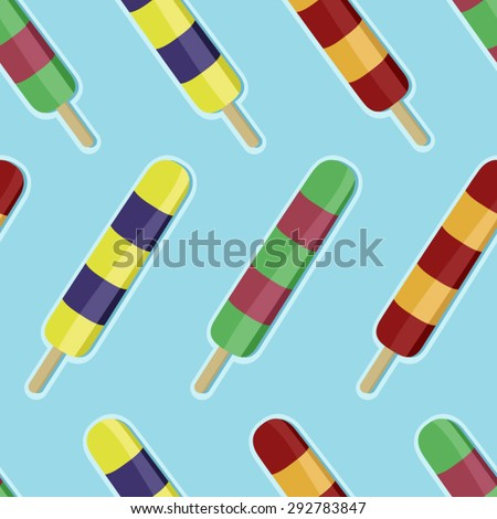 Colorful ice pops vector seamless background - stock vector