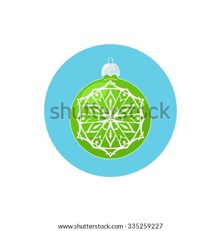Colorful Icon Green Ball with Snowflake , Icon Christmas Tree Decoration, Merry Christmas and Happy New Year,  Vector Illustration - stock vector