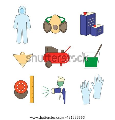 Colorful  icon set painter equipments as compressor, protective suit, paint mask, gun, hardener, lacquer, gloves, sandpaper, strainer - stock vector