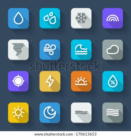 Colorful icons about the weather. Forecast symbols 1 - stock vector