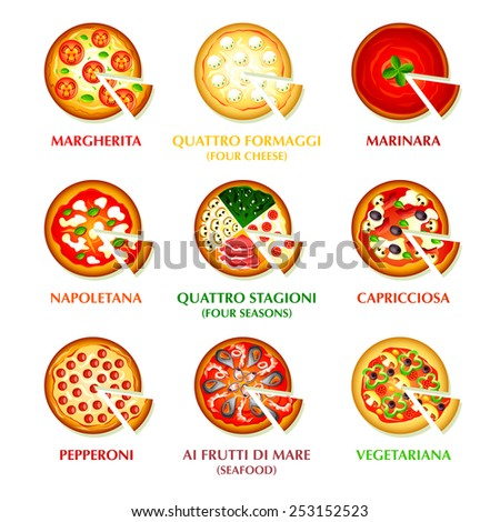 Colorful icons for classic Italian pizza - stock vector