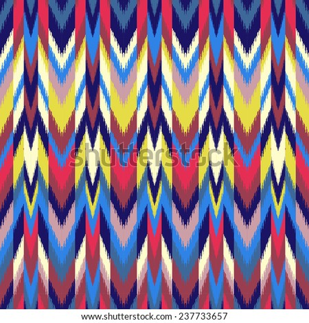 Colorful Ikat pattern for textile, wallpaper, card. Seamless background.  - stock vector