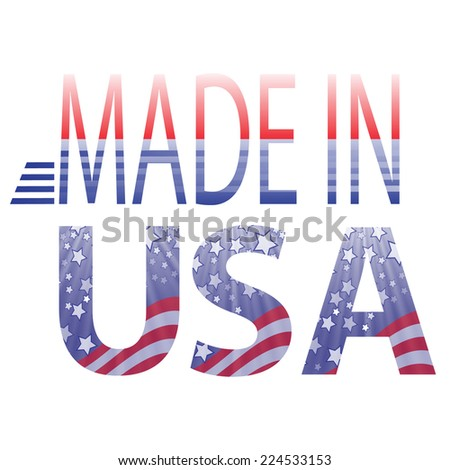 colorful illustration made in USA text on a white background - stock vector