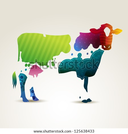Colorful illustration of a cow, eps10 vector - stock vector
