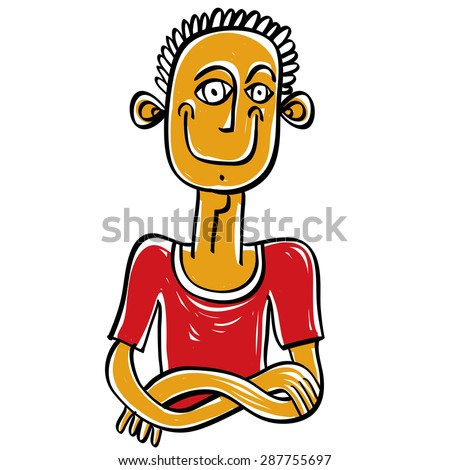 Colorful illustration of a man in a red T-shirt with his arms folded on chest. Hand-drawn portrait of a relaxed happy male.  - stock vector