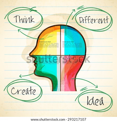 Colorful illustration of human head on notebook paper for Idea concept. - stock vector