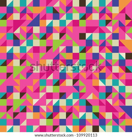 Colorful Illustration of Mosaic - Triangle and Square mosaic in pink and other colors - stock vector