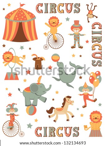 Colorful illustration of tent circus - stock vector