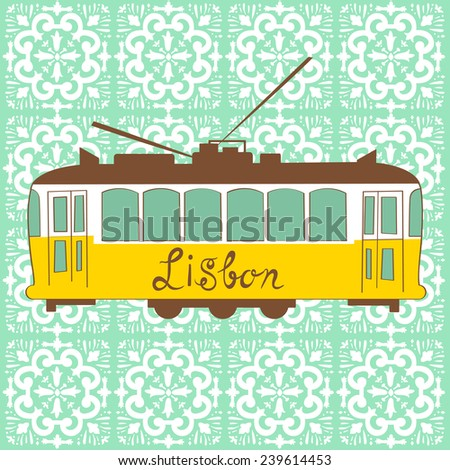 Colorful illustration of traditional Lisbon tram in vector - stock vector