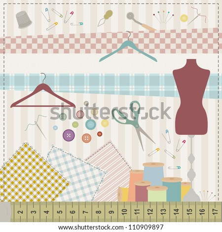 Colorful illustration of various sewing tools and fabrics. - stock vector