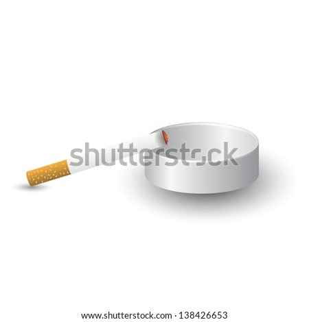 colorful illustration with ashtray and cigarette  for your design - stock vector