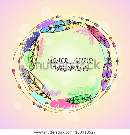 Colorful illustration with bird feathers and beads in the form of circle - stock vector