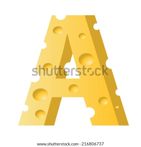colorful illustration with cheese letter A  on a white background - stock vector