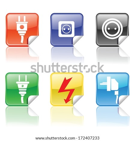 colorful illustration with electric icons for your design - stock vector