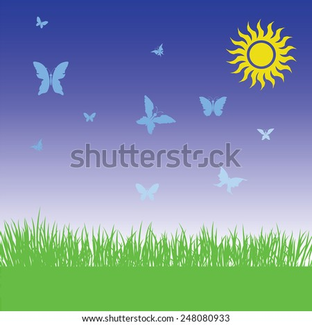 colorful illustration  with grass and butterflies on spring background - stock vector