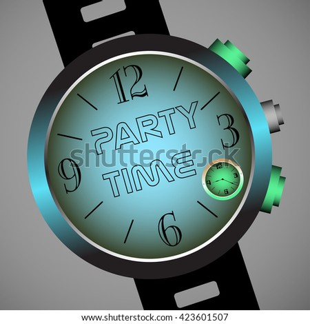 Colorful illustration with hand watch having the text party time written in the middle - stock vector