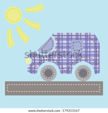 colorful illustration with old car for your design - stock vector