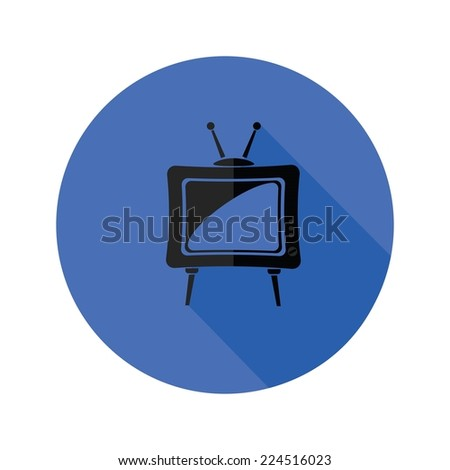 colorful illustration with old TV icon on a white background - stock vector