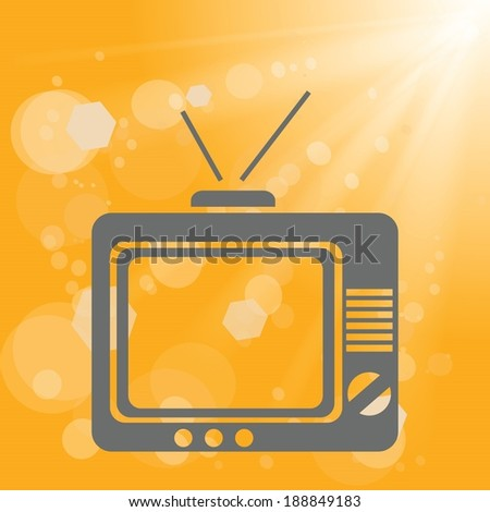 colorful illustration with old tv on a yellow background for your design - stock vector