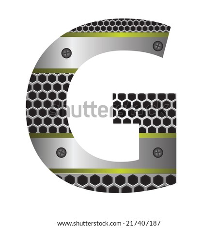 colorful illustration with perforated metal letter G  on a white background - stock vector