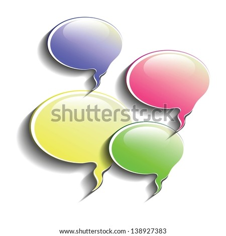 colorful illustration with speech bubbles for your design - stock vector