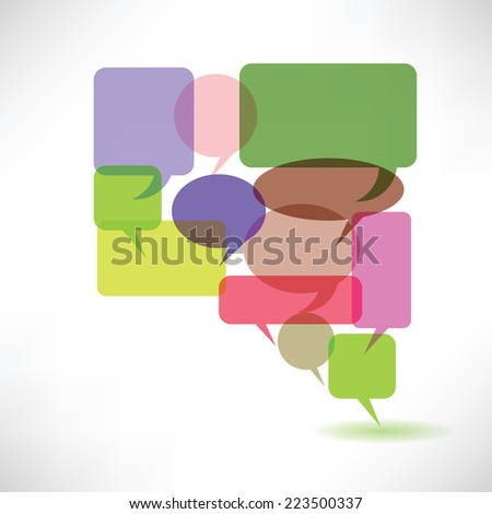 colorful illustration with  speech bubbles on a white background - stock vector