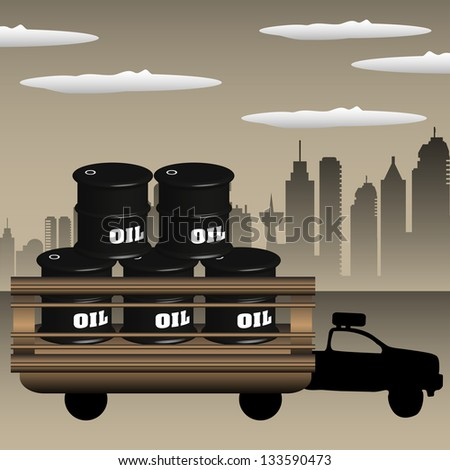 Colorful illustration with truck transporting oil barrels across the city - stock vector