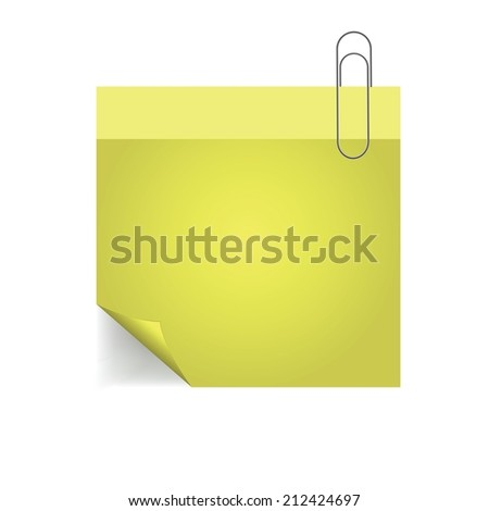colorful illustration yellow note with pin with paper pin  on a white background - stock vector