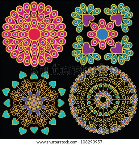 Colorful Indian Mandala design, very elaborate and easily editable - stock vector