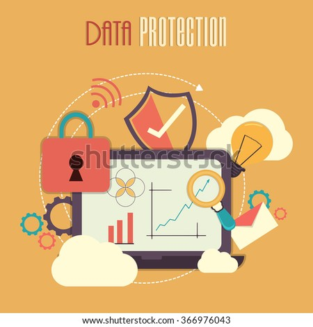 Colorful Infographic elements for Online Safety and Data Protection concept. - stock vector