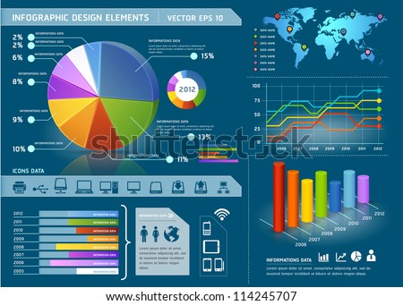 Colorful infographic elements with global map and information graphic. Vector illustration - stock vector