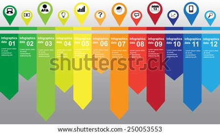 Colorful infographic with many business and technology icons - stock vector