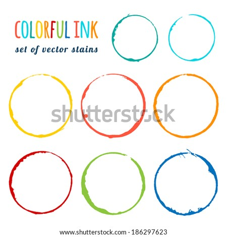 colorful ink set of vector stains - stock vector